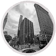 Madison Square Flatiron And Clock Tower New York Ny Black And White Round Beach Towel