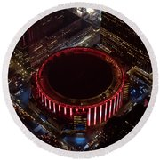 Madison Square Garden Aerial Round Beach Towel