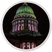 Madison Wi At Night Round Beach Towel