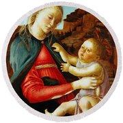 Madonna And Child 1470 Round Beach Towel