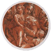Madonna And Child Accompanied By Saints Round Beach Towel