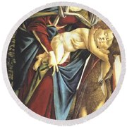 Madonna And Child And The Young St John The Baptist 1495 Round Beach Towel