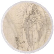 Madonna And Child Appearing To A Supplicant Round Beach Towel