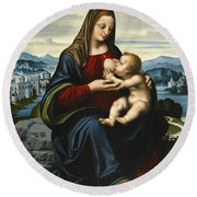 Madonna And Child Before A Landscape Round Beach Towel