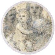 Madonna And Child Round Beach Towel