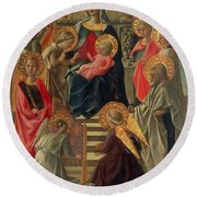 Madonna And Child Enthroned With Angels And Saints Round Beach Towel