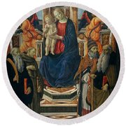 Madonna And Child Enthroned With Saints And Angels Round Beach Towel
