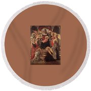 Madonna And Child Enthroned With Saints Fra Filippo Lippi Round Beach Towel
