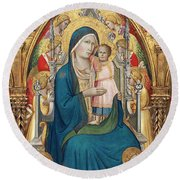 Madonna And Child Enthroned With Twelve Angels Round Beach Towel
