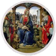 Madonna And Child Round Beach Towel by Filippino Lippi