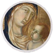 Madonna And Child Fragment  Round Beach Towel