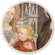 Madonna And Child Fresco, Italy Round Beach Towel