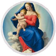 Madonna And Child In Glory Round Beach Towel