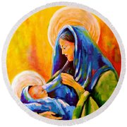 Madonna And Child Painting Round Beach Towel