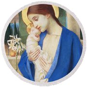 Madonna And Child Round Beach Towel by Marianne Stokes