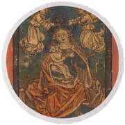 Madonna And Child Seated On A Grassy Bank With Angels Round Beach Towel