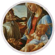 Madonna And Child With An Angel Round Beach Towel