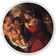 Madonna And Child With Child And Angles Round Beach Towel