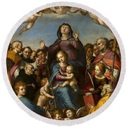 Madonna And Child With Saint Anne And The Patron Saints Of Florence Round Beach Towel