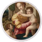 Madonna And Child With Saint John The Baptist Round Beach Towel