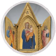 Madonna And Child With Saint Peter And Saint John The Evangelist [middle Panel] Round Beach Towel