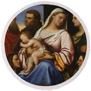 Madonna And Child With Saints And Donors Round Beach Towel