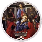 Madonna And Child With Six Saints Round Beach Towel