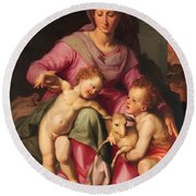Madonna And Child With The Infant Saint John The Baptist Round Beach Towel