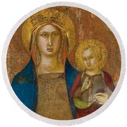 Madonna And Child With Two Angels Round Beach Towel