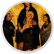 Madonna In Gloria Between Saint Francis And Santa Chiara Gentile Round Beach Towel