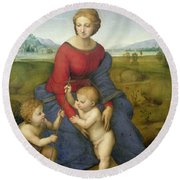 Madonna In The Meadow Round Beach Towel by Raphael