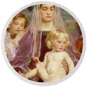 Madonna Of Giverny, 1901 Detail Round Beach Towel