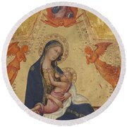 Madonna Of Humility The Blessing Christ Two Angels And A Donor Round Beach Towel