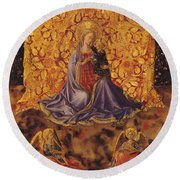 Madonna Of Humility With Christ Child And Angels Round Beach Towel