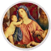 Madonna Of The Cherries With Joseph Round Beach Towel