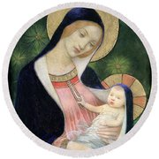 Madonna Of The Fir Tree Round Beach Towel by Marianne Stokes