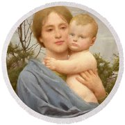 Madonna Of The Mount  Round Beach Towel