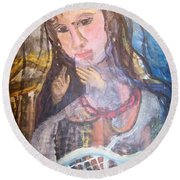 Madonna Of The Racket Round Beach Towel