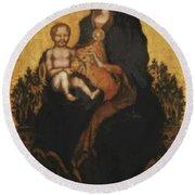 Madonna With Angels 1410 Round Beach Towel