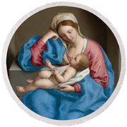 Madonna With The Infant Christ Child Holding A Goldfinch On A String  Round Beach Towel