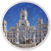 Madrid City Hall Round Beach Towel by Joan Carroll