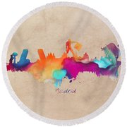 Madrid Skyline  Round Beach Towel