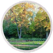 Mae Stecker Park In Shelby Township Michigan Round Beach Towel