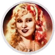 Mae West, Vintage Actress Round Beach Towel