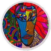 Magdalena On Fire - Mask - Abstract Face Round Beach Towel