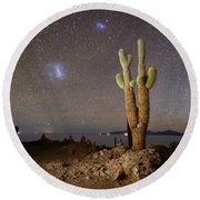Magellanic Clouds And Forked Cactus Incahuasi Island Bolivia Round Beach Towel
