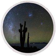Magellanic Clouds Milky Way And Cactus Silhouette Incahuasi Island Bolivia Round Beach Towel