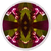 Magent Crystal Flower Round Beach Towel