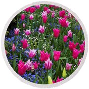 Magenta And White Tulips Round Beach Towel
