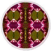Magenta Crystal Pattern Round Beach Towel by Amy Vangsgard